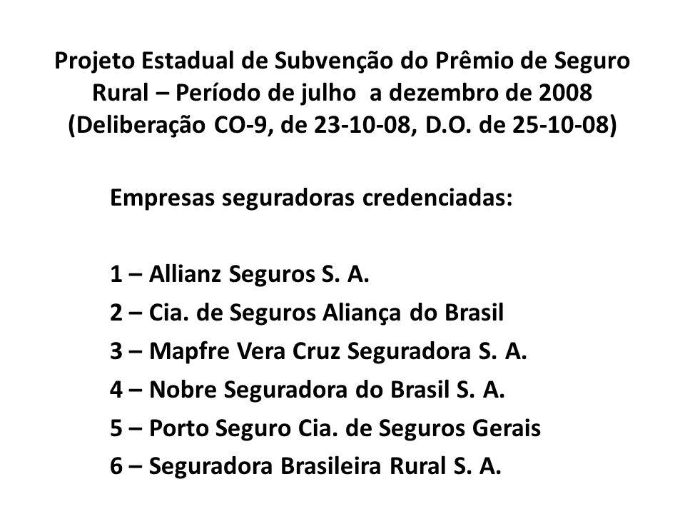 Projeto Estadual de Subvenção do Prêmio de Seguro Rural – Período de julho a dezembro de 2008 (Deliberação CO-9, de 23-10-08, D.O. de 25-10-08)