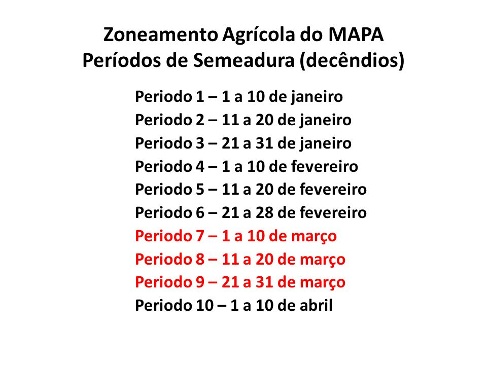 Zoneamento Agrícola do MAPA Períodos de Semeadura (decêndios)