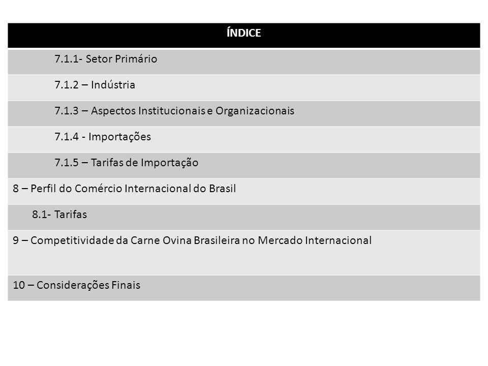 ÍNDICE 7.1.1- Setor Primário. 7.1.2 – Indústria. 7.1.3 – Aspectos Institucionais e Organizacionais.