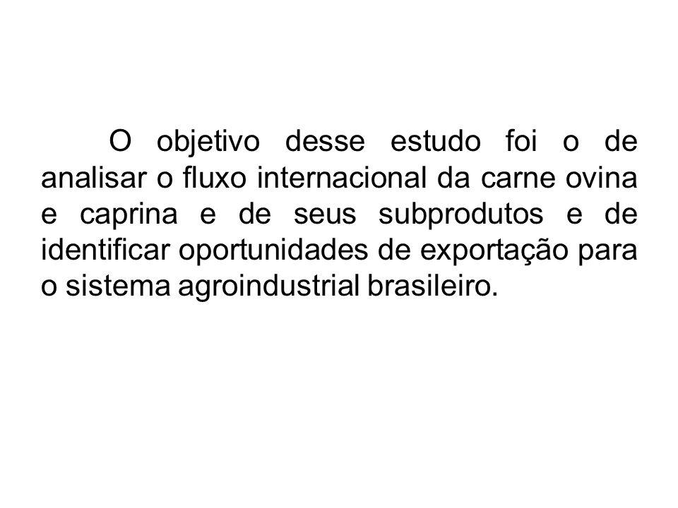 O objetivo desse estudo foi o de analisar o fluxo internacional da carne ovina e caprina e de seus subprodutos e de identificar oportunidades de exportação para o sistema agroindustrial brasileiro.
