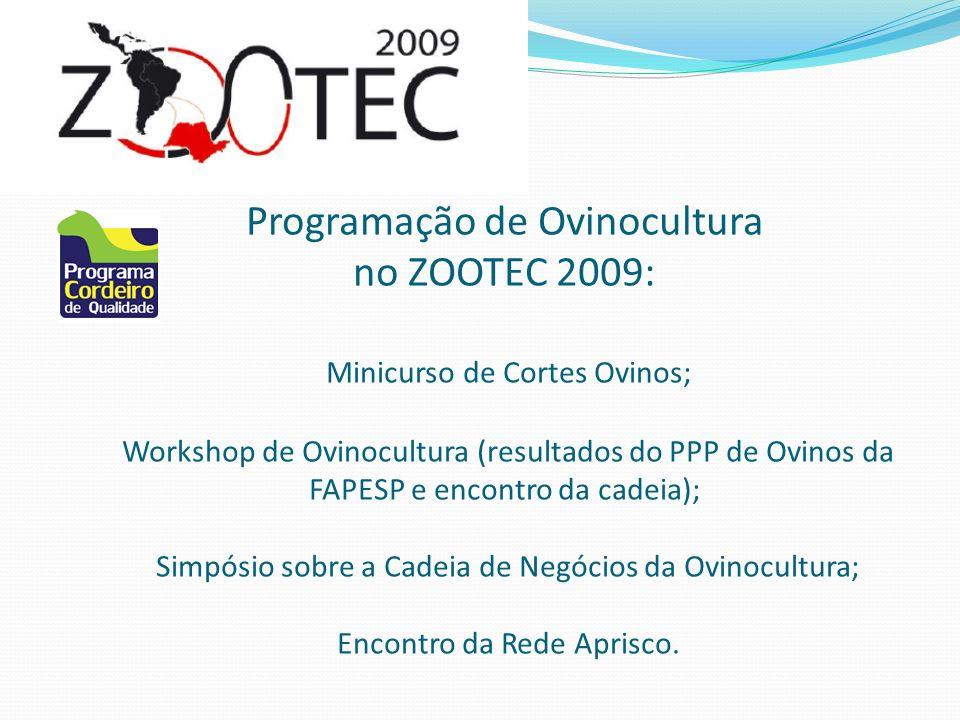 Programação de Ovinocultura no ZOOTEC 2009: Minicurso de Cortes Ovinos; Workshop de Ovinocultura (resultados do PPP de Ovinos da FAPESP e encontro da cadeia); Simpósio sobre a Cadeia de Negócios da Ovinocultura; Encontro da Rede Aprisco.