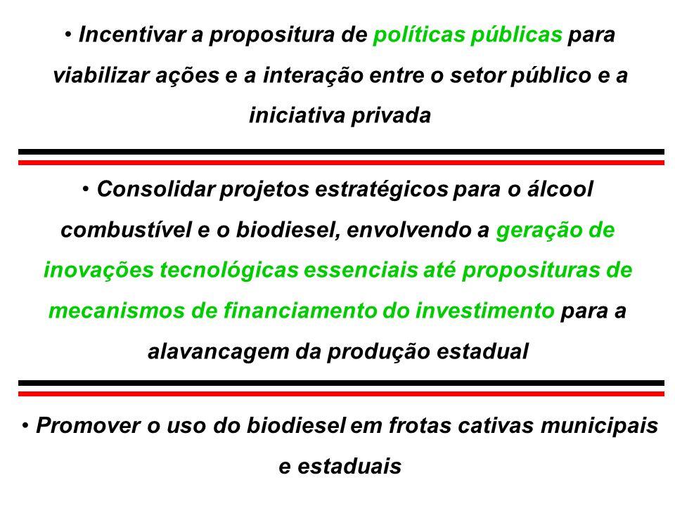Promover o uso do biodiesel em frotas cativas municipais e estaduais