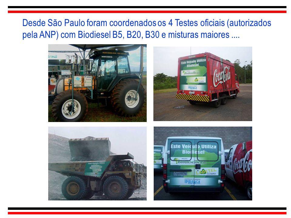 Desde São Paulo foram coordenados os 4 Testes oficiais (autorizados pela ANP) com Biodiesel B5, B20, B30 e misturas maiores ....