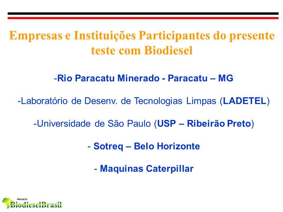 Empresas e Instituições Participantes do presente teste com Biodiesel