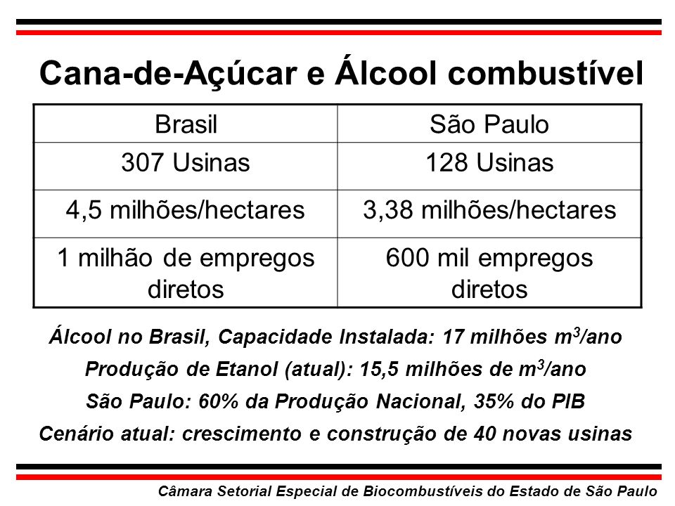 Cana-de-Açúcar e Álcool combustível