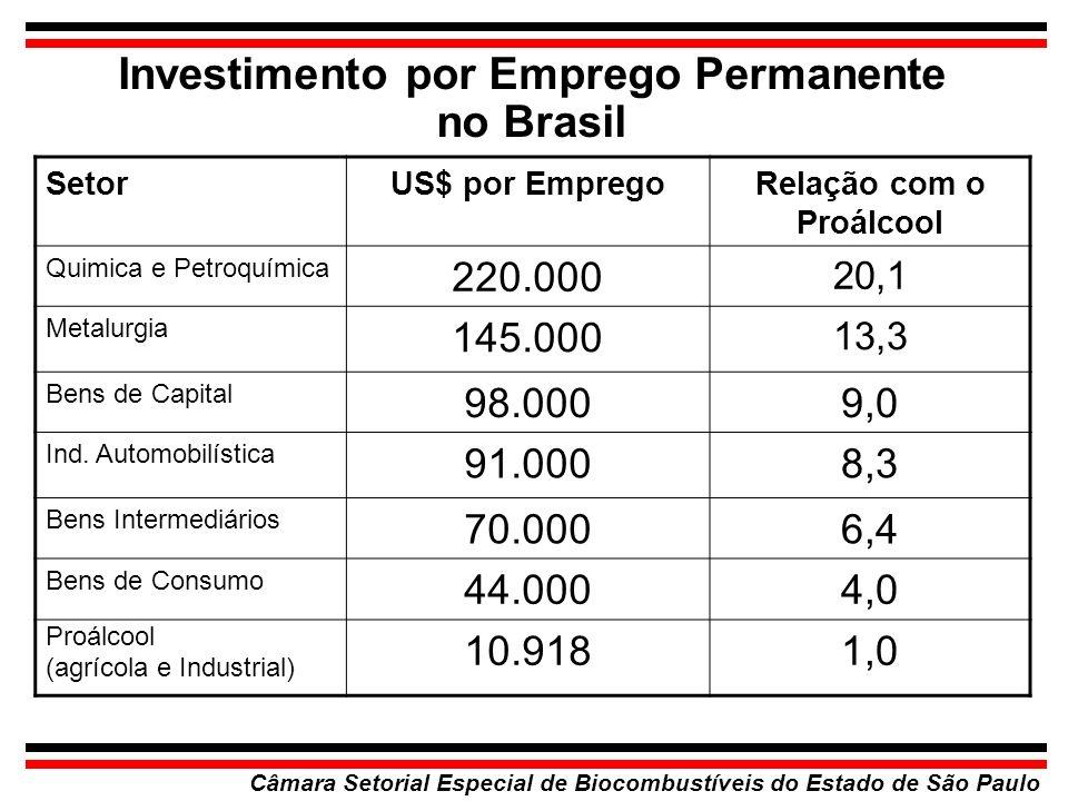 Investimento por Emprego Permanente no Brasil