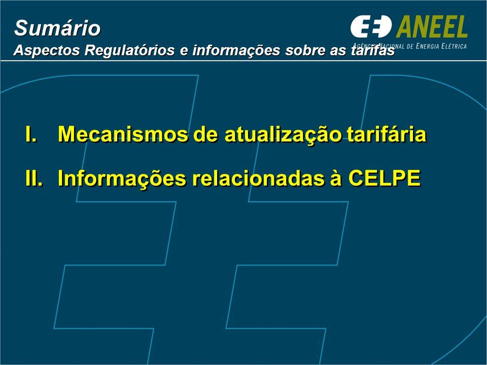 Mecanismos de atualização tarifária Informações relacionadas à CELPE