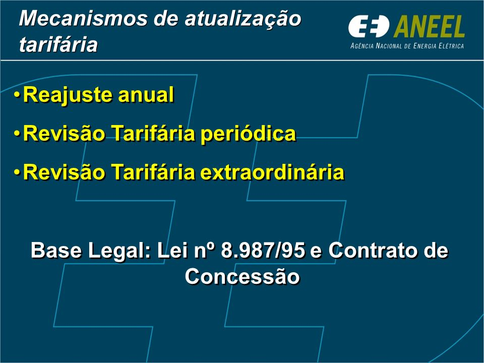 Base Legal: Lei nº 8.987/95 e Contrato de