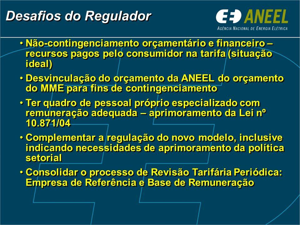 Desafios do Regulador Não-contingenciamento orçamentário e financeiro – recursos pagos pelo consumidor na tarifa (situação ideal)