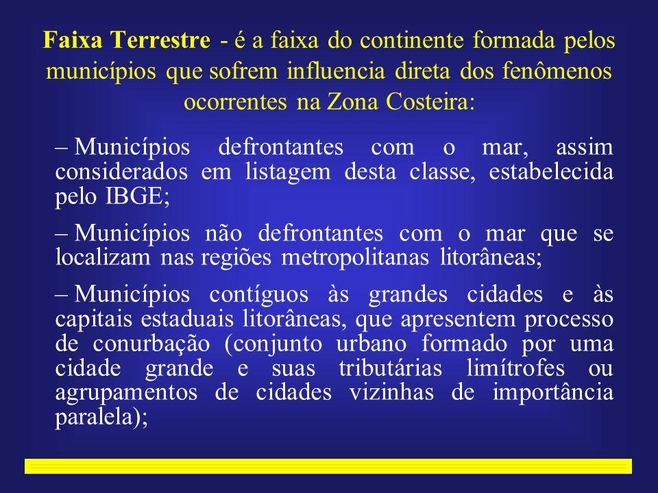 Faixa Terrestre - é a faixa do continente formada pelos municípios que sofrem influencia direta dos fenômenos ocorrentes na Zona Costeira: