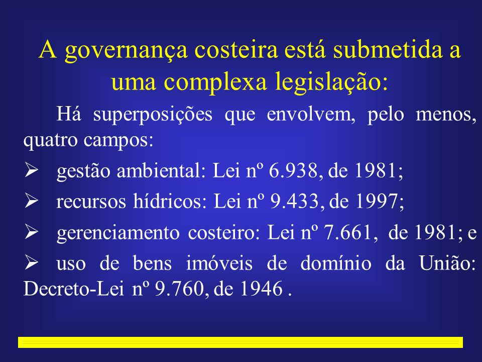 A governança costeira está submetida a uma complexa legislação: