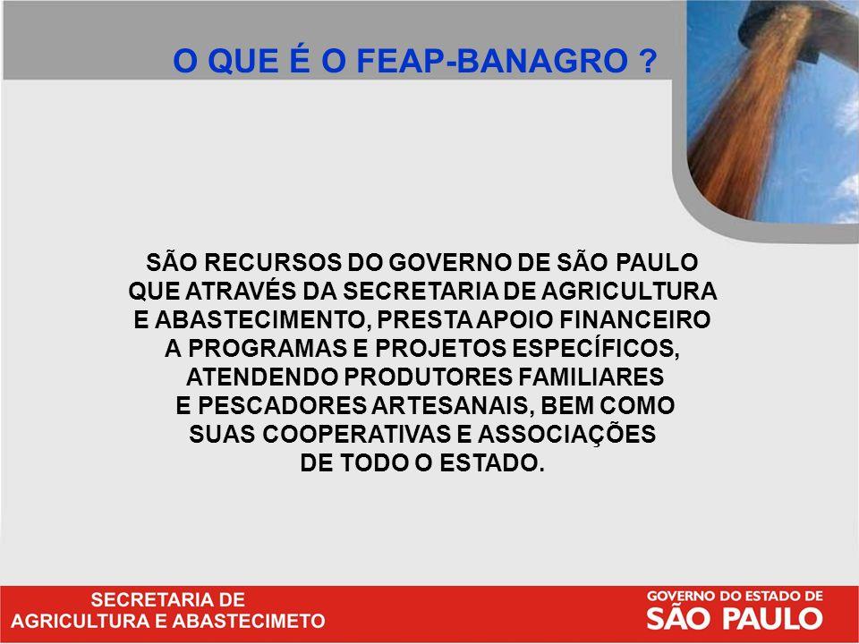 O QUE É O FEAP-BANAGRO SÃO RECURSOS DO GOVERNO DE SÃO PAULO