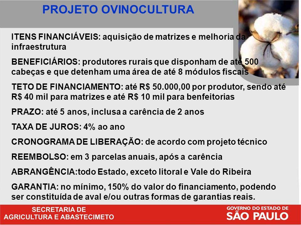 PROJETO OVINOCULTURA ITENS FINANCIÁVEIS: aquisição de matrizes e melhoria da infraestrutura.