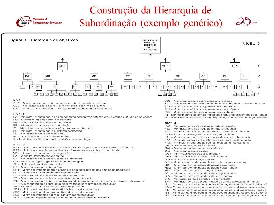Construção da Hierarquia de Subordinação (exemplo genérico)