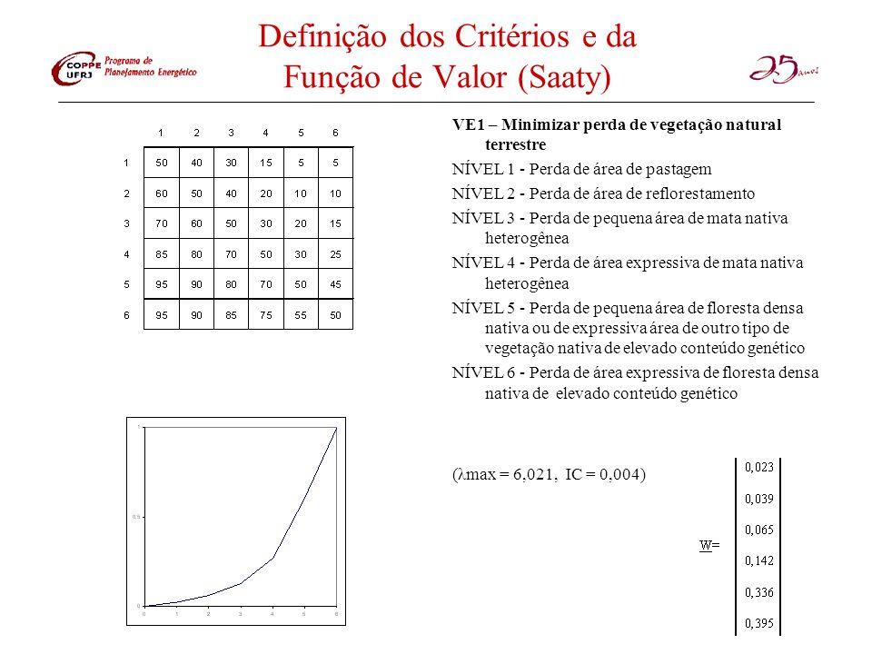 Definição dos Critérios e da Função de Valor (Saaty)
