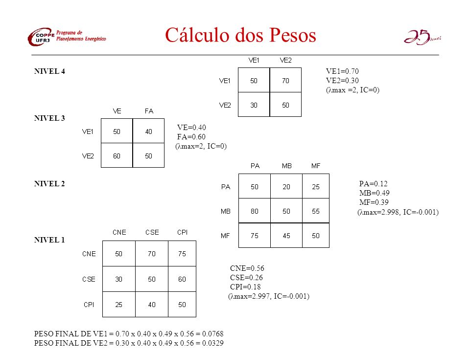Cálculo dos Pesos NIVEL 4 VE1=0.70 VE2=0.30 (λmax =2, IC=0) NIVEL 3