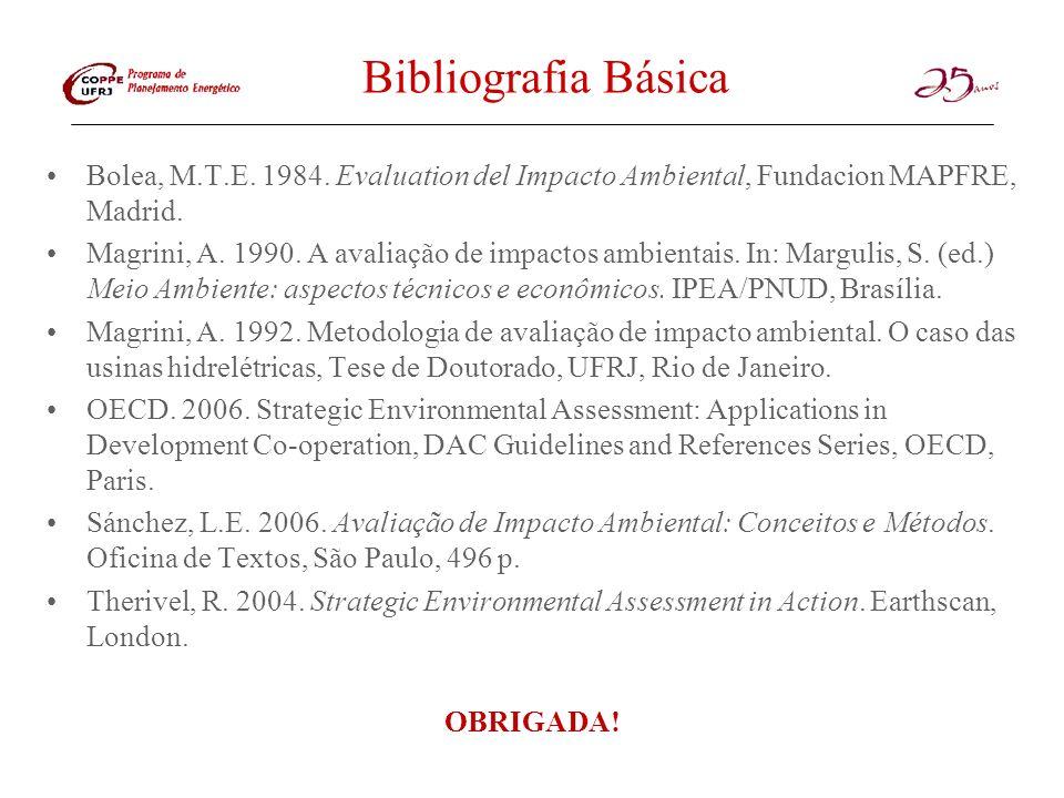 Bibliografia Básica Bolea, M.T.E. 1984. Evaluation del Impacto Ambiental, Fundacion MAPFRE, Madrid.