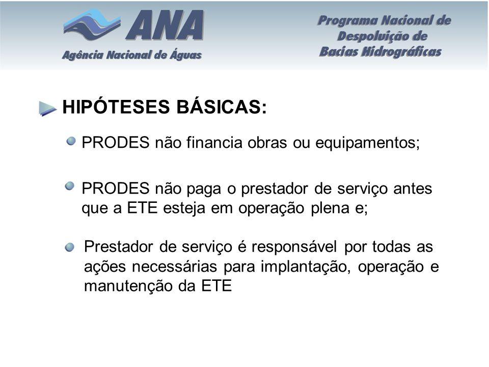 HIPÓTESES BÁSICAS: PRODES não financia obras ou equipamentos;