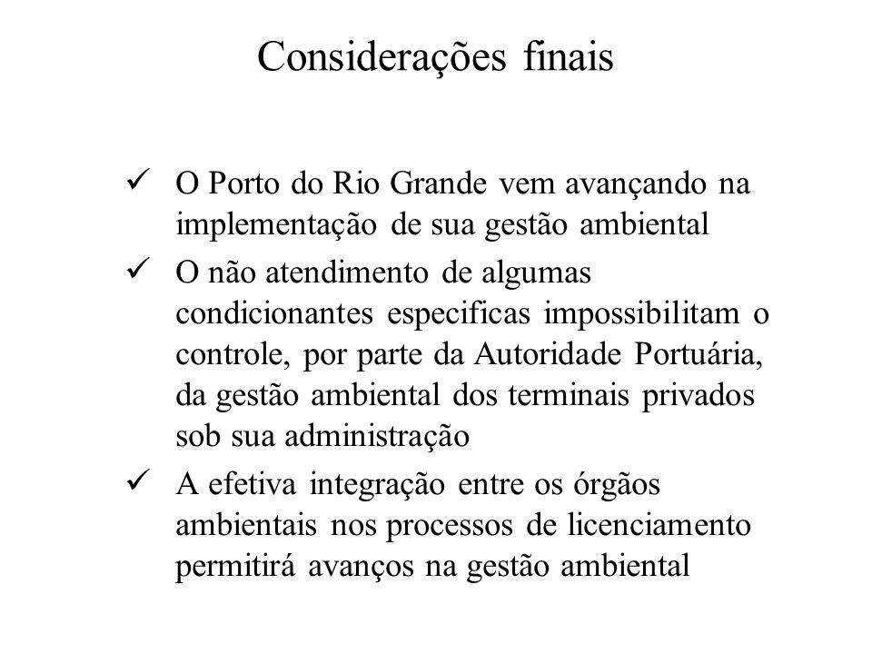 Considerações finaisO Porto do Rio Grande vem avançando na implementação de sua gestão ambiental.