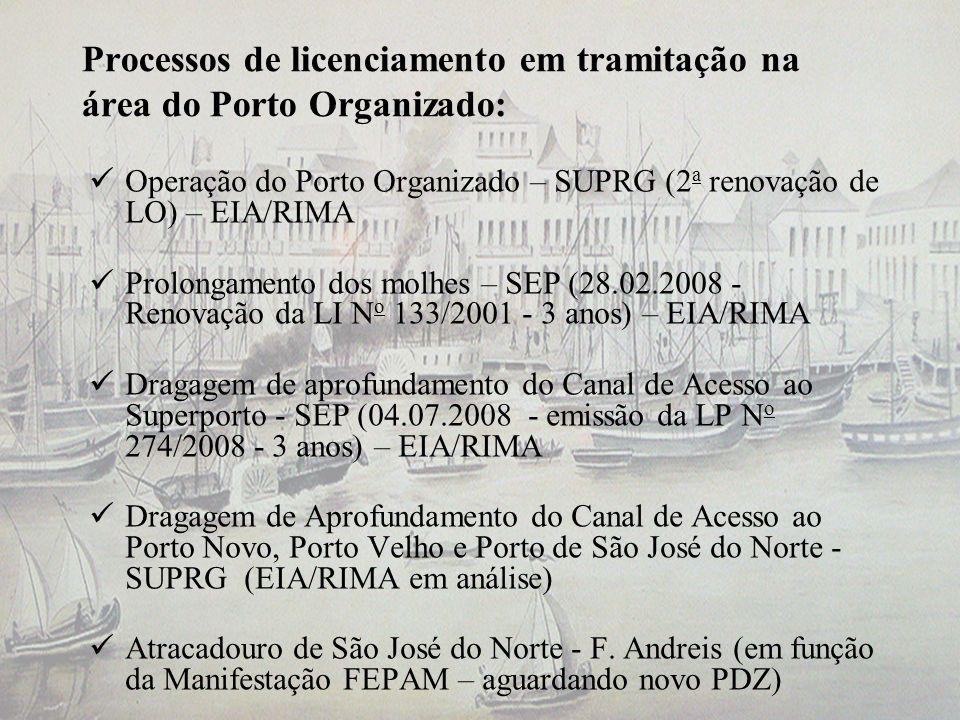 Processos de licenciamento em tramitação na área do Porto Organizado: