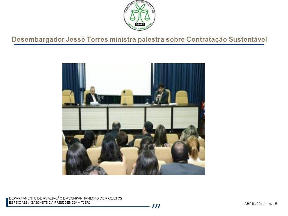 Desembargador Jessé Torres ministra palestra sobre Contratação Sustentável
