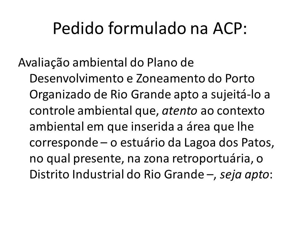 Pedido formulado na ACP:
