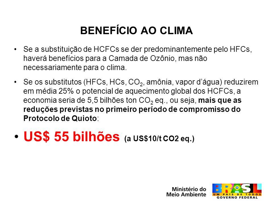 US$ 55 bilhões (a US$10/t CO2 eq.)