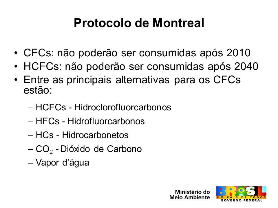 Protocolo de Montreal CFCs: não poderão ser consumidas após 2010