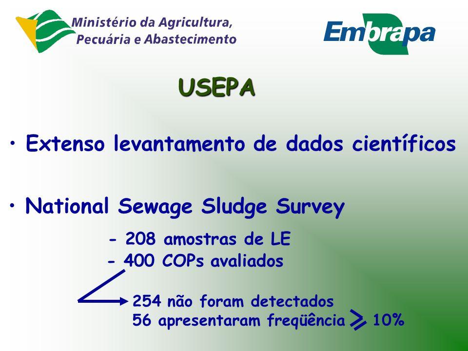 USEPA Extenso levantamento de dados científicos