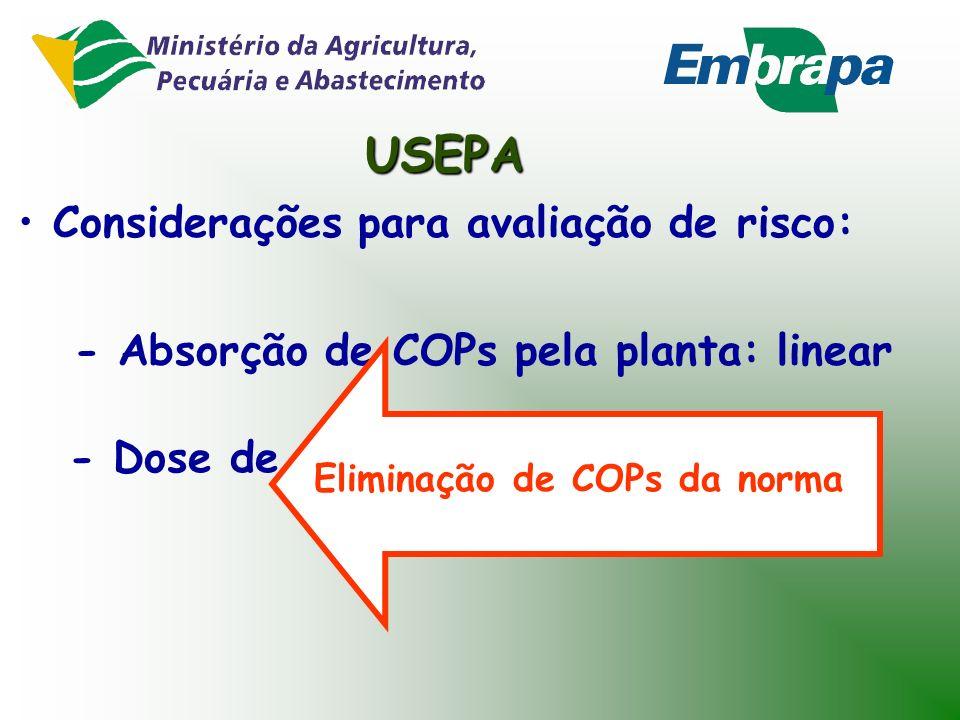 USEPA Considerações para avaliação de risco: