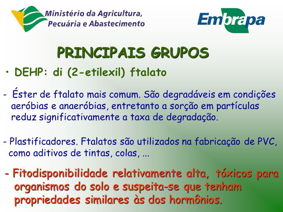 PRINCIPAIS GRUPOS DEHP: di (2-etilexil) ftalato