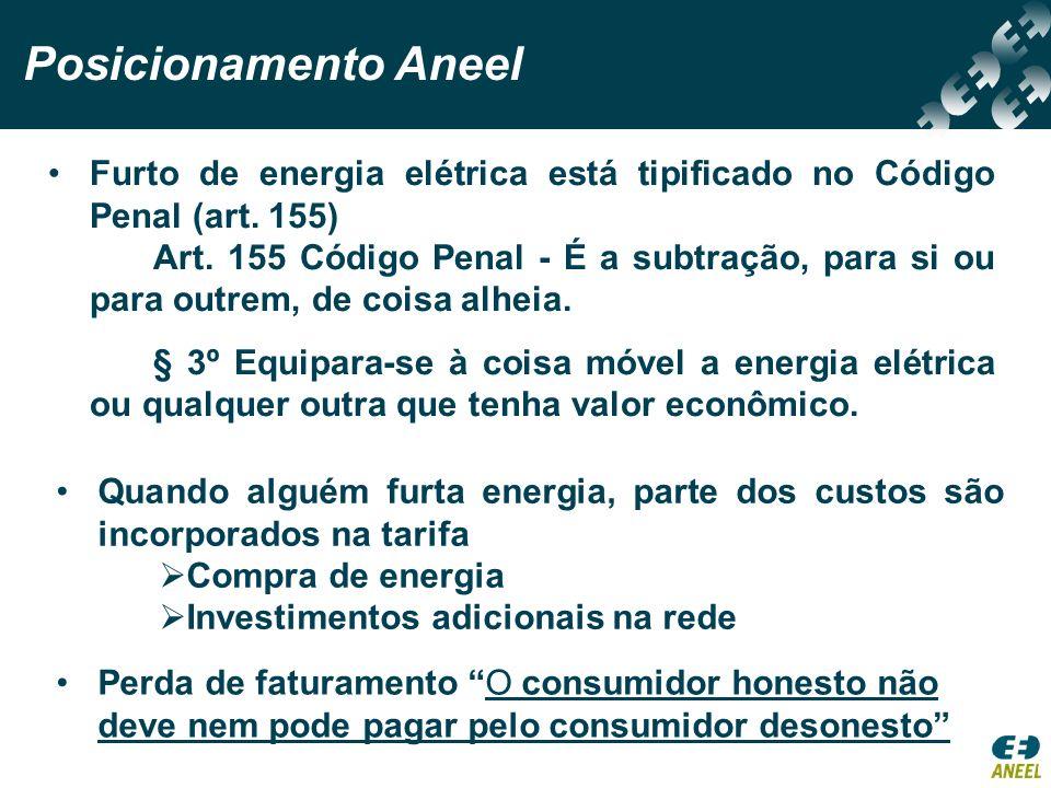Posicionamento Aneel Furto de energia elétrica está tipificado no Código Penal (art. 155)
