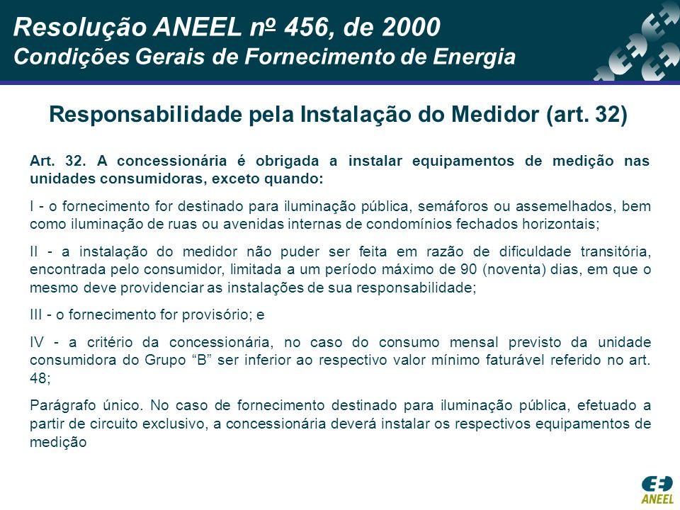 Responsabilidade pela Instalação do Medidor (art. 32)