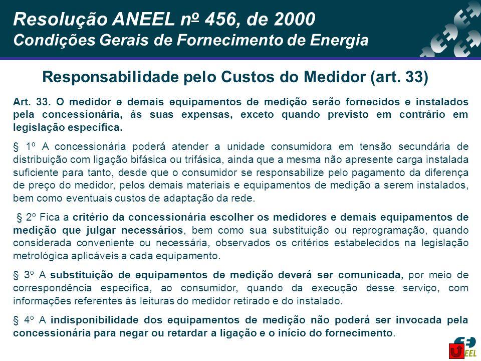 Responsabilidade pelo Custos do Medidor (art. 33)