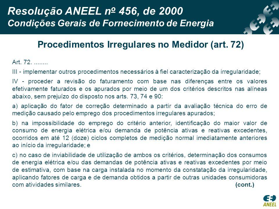 Procedimentos Irregulares no Medidor (art. 72)