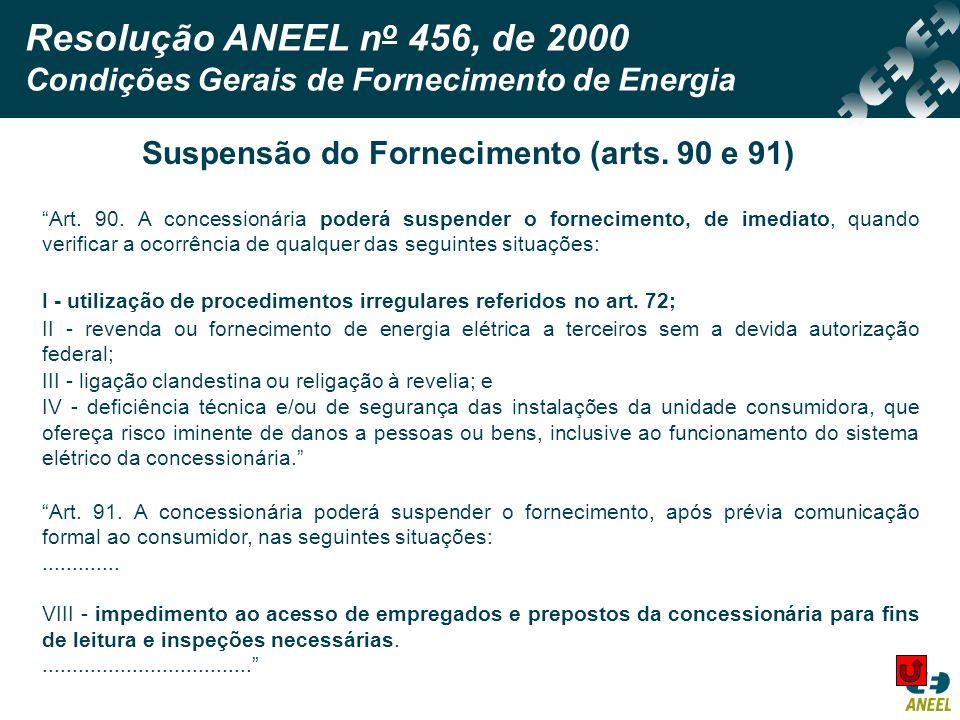Suspensão do Fornecimento (arts. 90 e 91)