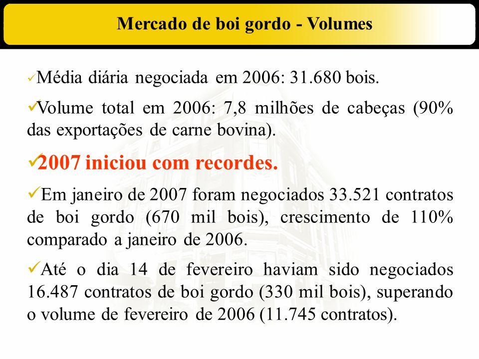 Mercado de boi gordo - Volumes