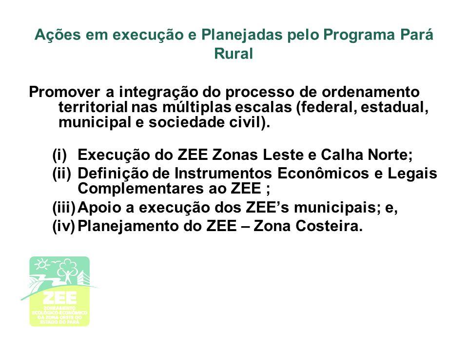 Ações em execução e Planejadas pelo Programa Pará Rural