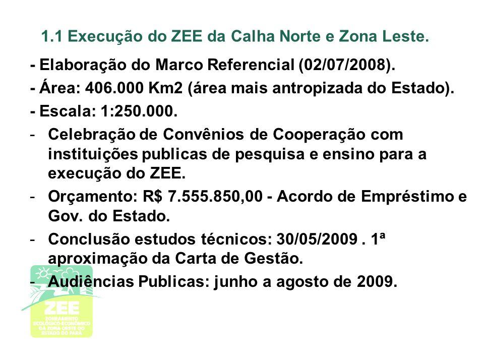 1.1 Execução do ZEE da Calha Norte e Zona Leste.