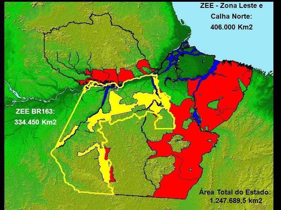 ZEE - Zona Leste e Calha Norte: 406.000 Km2. ZEE BR163: 334.450 Km2.