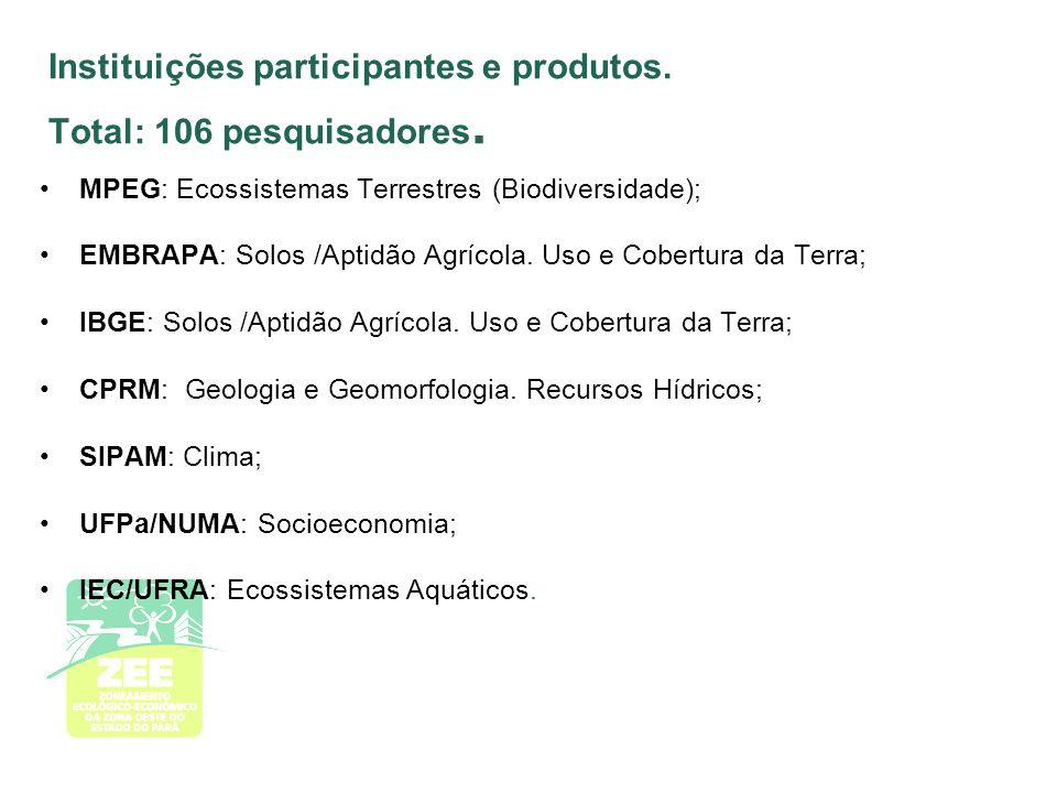 Instituições participantes e produtos. Total: 106 pesquisadores.
