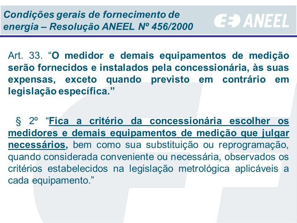 Condições gerais de fornecimento de energia – Resolução ANEEL Nº 456/2000