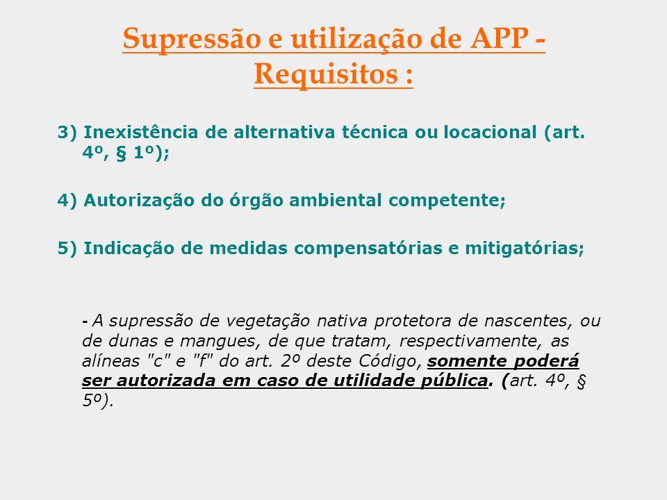 Supressão e utilização de APP - Requisitos :