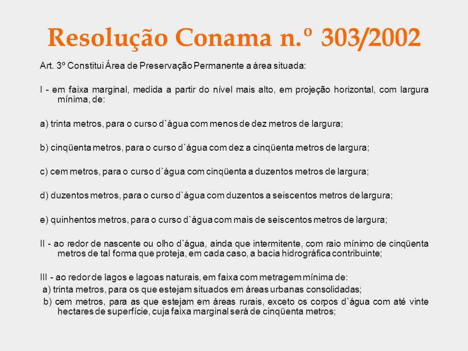 Resolução Conama n.º 303/2002 Art. 3º Constitui Área de Preservação Permanente a área situada: