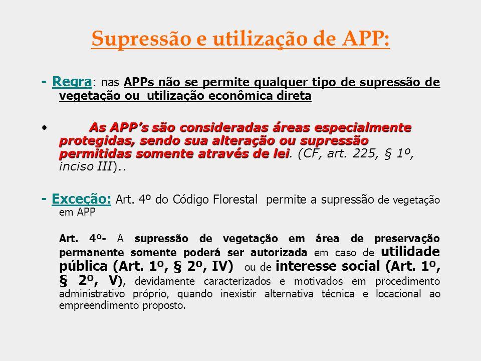 Supressão e utilização de APP:
