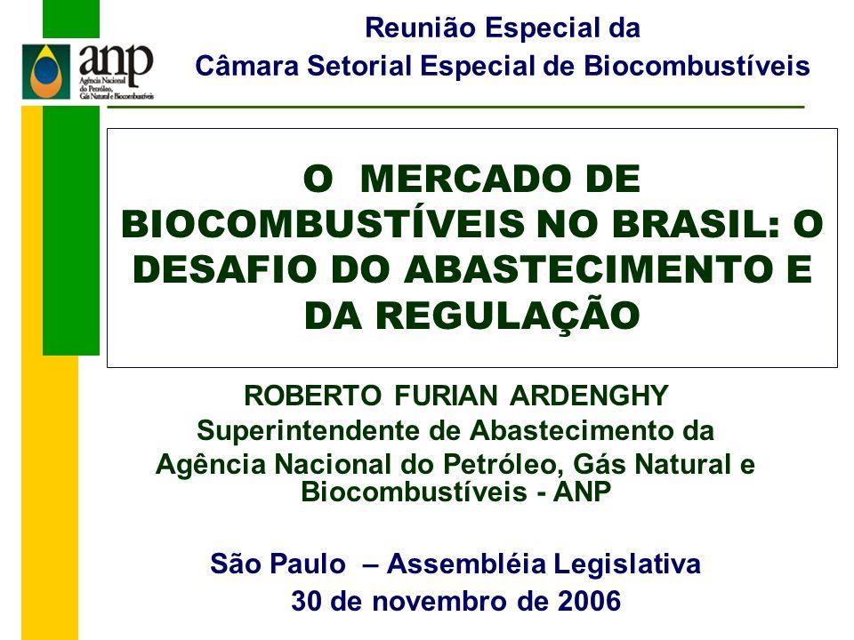 Reunião Especial da Câmara Setorial Especial de Biocombustíveis. O MERCADO DE BIOCOMBUSTÍVEIS NO BRASIL: O DESAFIO DO ABASTECIMENTO E DA REGULAÇÃO.