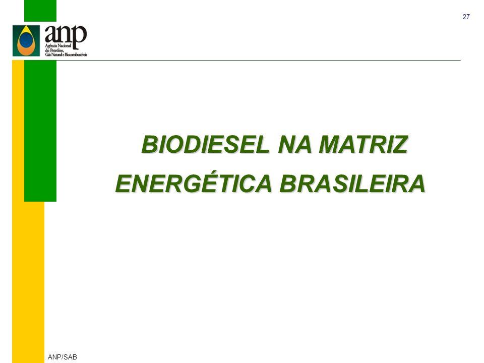 BIODIESEL NA MATRIZ ENERGÉTICA BRASILEIRA