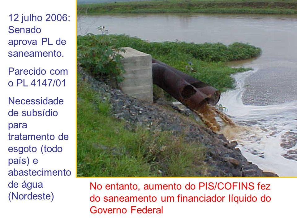 12 julho 2006: Senado aprova PL de saneamento.