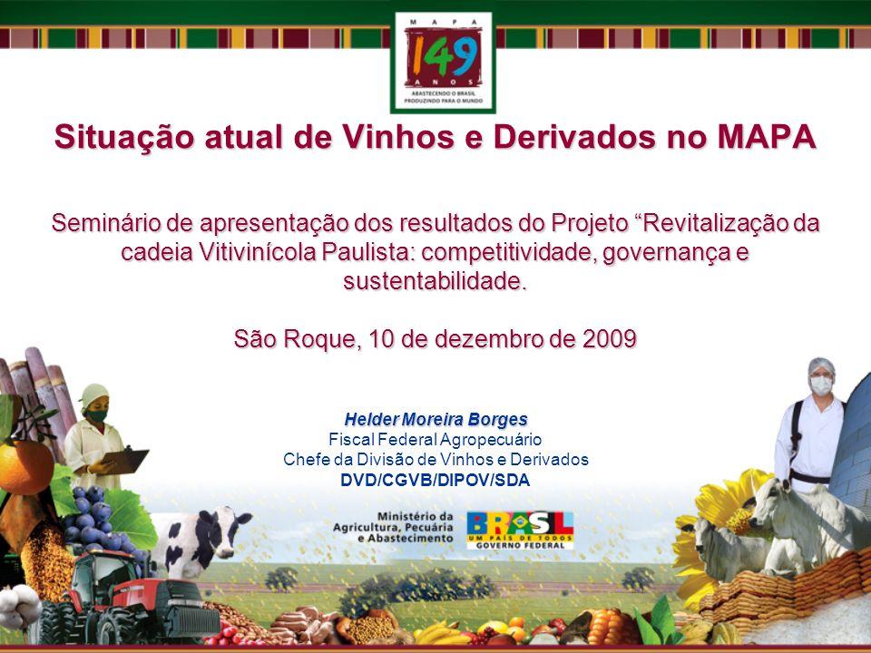 Situação atual de Vinhos e Derivados no MAPA Seminário de apresentação dos resultados do Projeto Revitalização da cadeia Vitivinícola Paulista: competitividade, governança e sustentabilidade. São Roque, 10 de dezembro de 2009