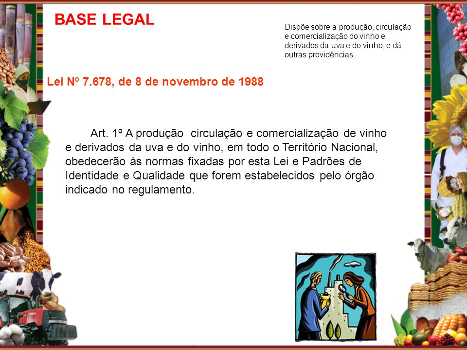 BASE LEGAL Lei Nº 7.678, de 8 de novembro de 1988